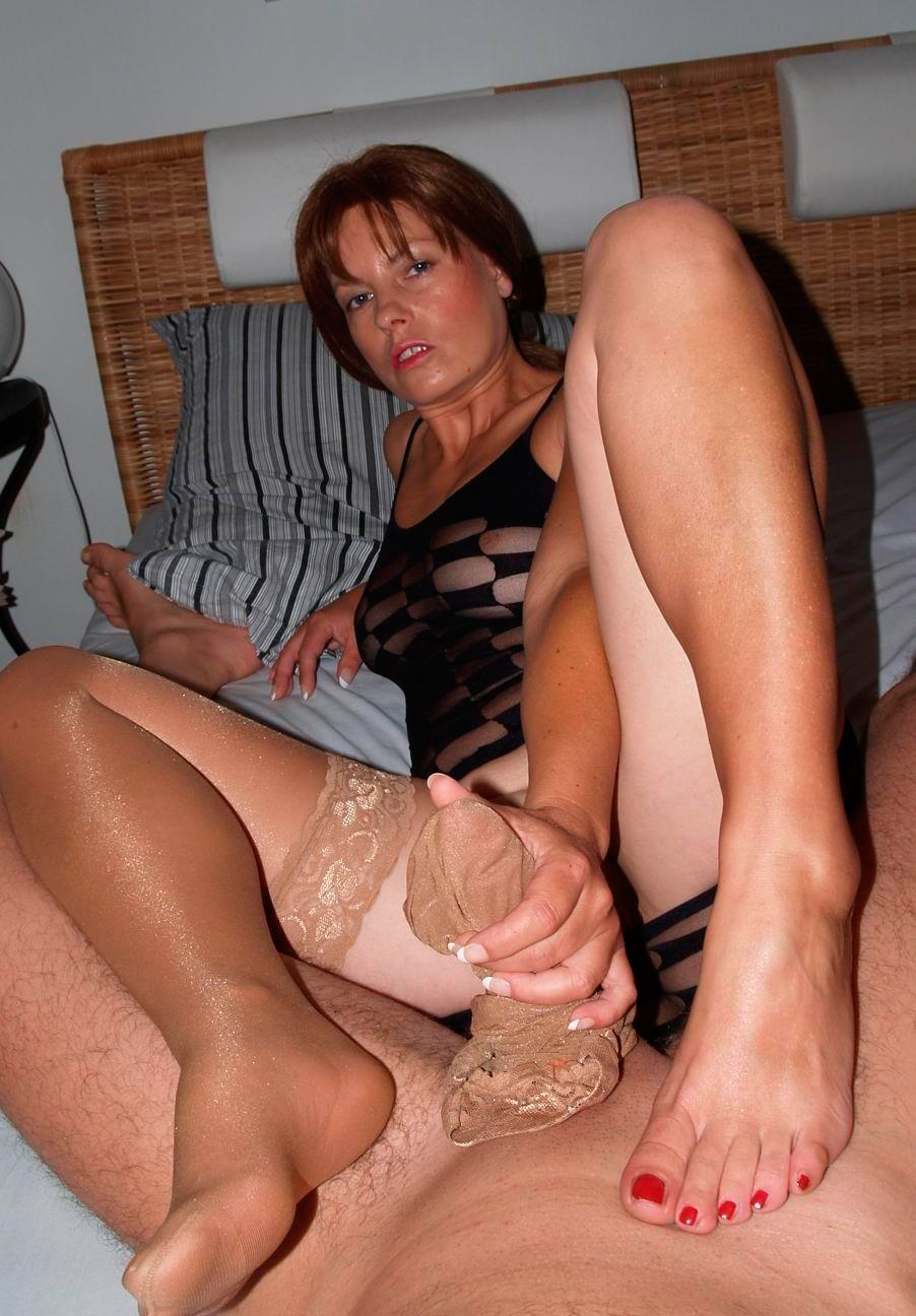 Milf stockings handjob