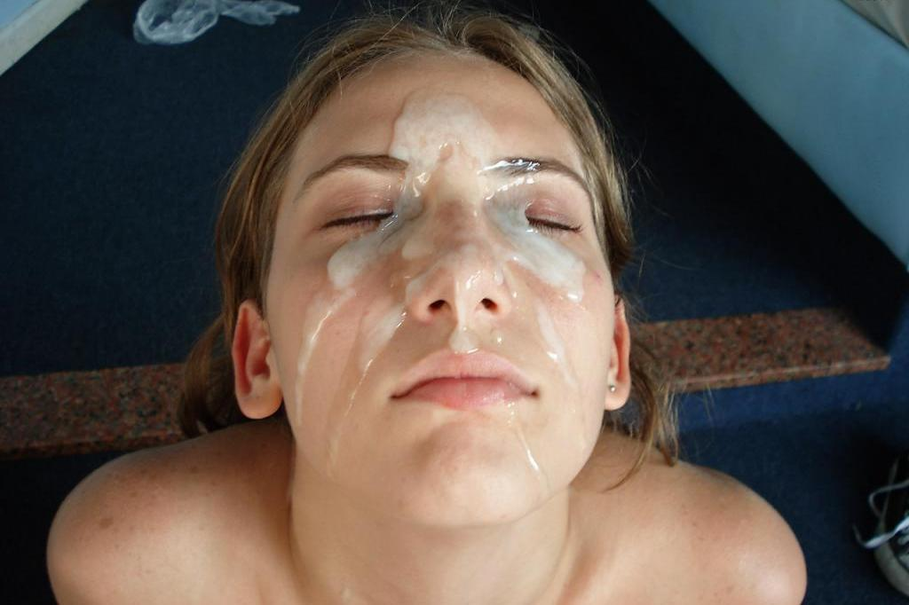 face with cum Chubby covered girl